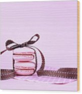 Pink Macarons Tied With Ribbon  Wood Print
