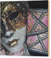 Pink Mask Wood Print