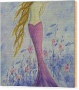 Pink Mermaid In Her Garden Wood Print