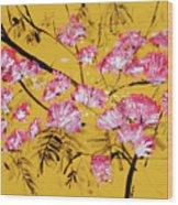 Pink Mimosa Tree Dark Yellow 201642 Wood Print