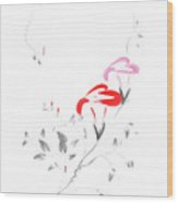 Pink Morning Glory Flowers Sumi-e Illustration Artistic Design O Wood Print