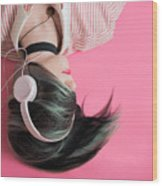 Pink Music Time Wood Print
