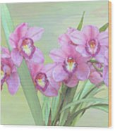 Pink Orchid Photo Sketch Wood Print