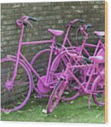 Pink Painted Bikes And Old Wall Wood Print