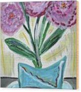 Pink Peonies-gray Table Wood Print