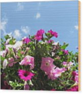 Pink Petunias In The Sky Wood Print
