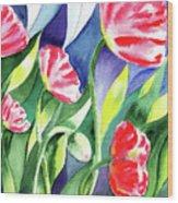 Pink Poppies Batik Style Wood Print