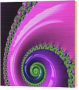 Pink Purple And Green Fractal Spiral Wood Print