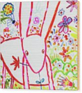 Pink Rabbit Wood Print