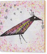 Pink Raven With Heart Wood Print