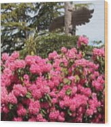 Pink Rhododendrons With Totem Pole Wood Print