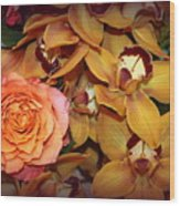 Pink Rose And Yellow Orchids Wood Print