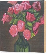 Pink Roses And Vase Wood Print