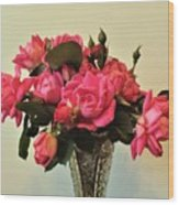 Pink Roses Bouquet 2 Wood Print