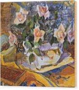 Pink Roses In Gaye's Dish Wood Print