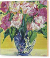 Pink Roses In Blue Deft Vase Wood Print