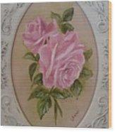 Pink Roses Oval Framed Wood Print