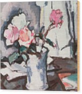 Pink Roses Wood Print by Samuel John Peploe