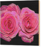 Pink Roses With Enameled Effects Wood Print