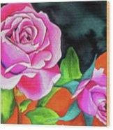 Pink Roses With Orange Wood Print