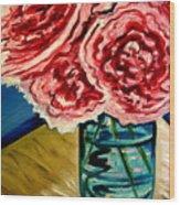 Pink Ruffled Peonies Wood Print