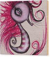 Pink Seahorse Wood Print