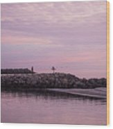 Pink Skies At Dawn Wood Print