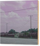 Pink Sky And Trains Wood Print