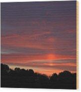 Pink Sky At Sunrise Wood Print