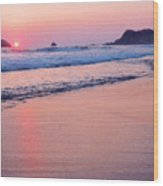 Pink Sky In Zipolite Wood Print