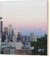 Pink Sky Over Mount Rainier Wood Print
