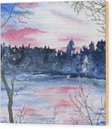 Pink Sky Reflections Wood Print