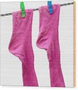 Pink Socks Wood Print