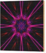 Pink Starburst Fractal  Wood Print