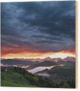 Pink Sunrise And Blue Clouds In The Mountains Of Kamnik Savinja  Wood Print