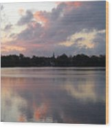 Pink Sunrise With Dramatic Clouds And Steeple On Jamaica Pond Wood Print