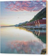 Pink Sunset Over A Lagoon In Norway Wood Print