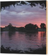 Pink Sunset Panorama With Black Framing Wood Print