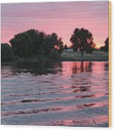 Pink Sunset With Soft Waves Wood Print