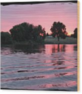 Pink Sunset With Soft Waves In Black Framing Wood Print