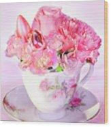 Pink Teacup Bouquet Wood Print