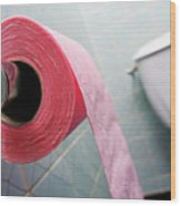 Pink Toilet Roll On Holder In Bathroom Wood Print