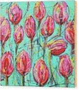 Pink Tulip, Turquoise Wood Print