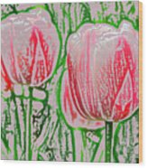 Pink Tulips With Block Effect Wood Print