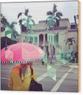 Pink Umbrella Wood Print
