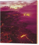 Pink Volcano Sunrise Wood Print