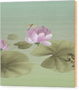 Pink Water Lily And Frog Wood Print