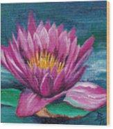 Pink Water Lily Original Painting Wood Print