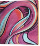 Pink Wave Of Energy. Abstract Vision Wood Print