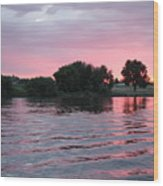 Pink Waves Sunset Wood Print